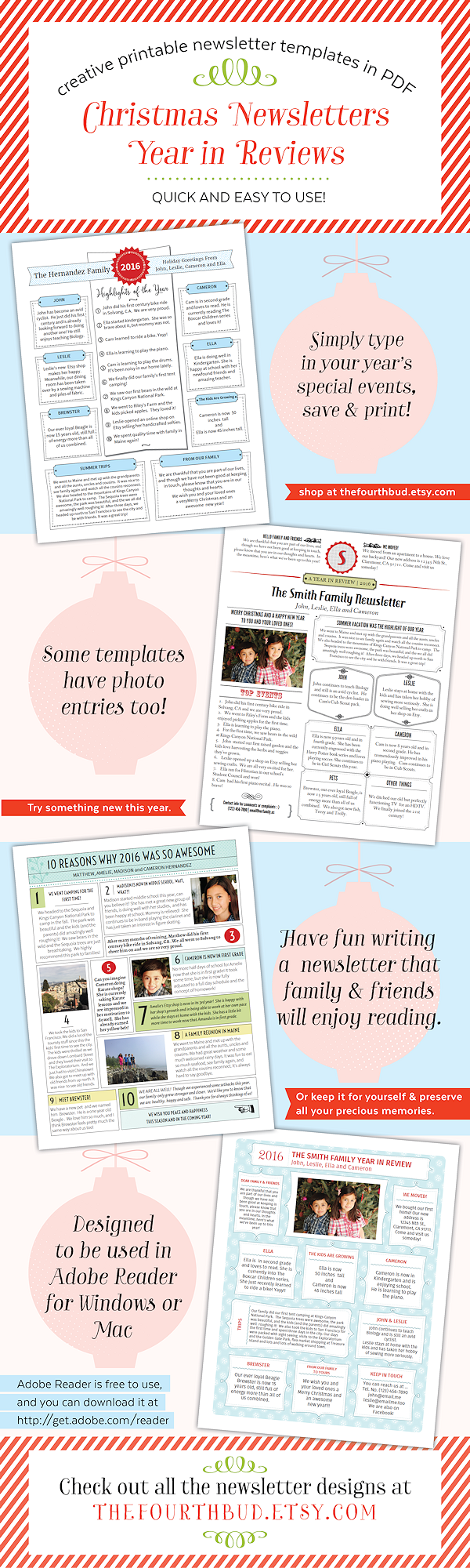 Christmas newsletter and year in review templates the fourth bud christmas newsletters and year in reviews spiritdancerdesigns Image collections